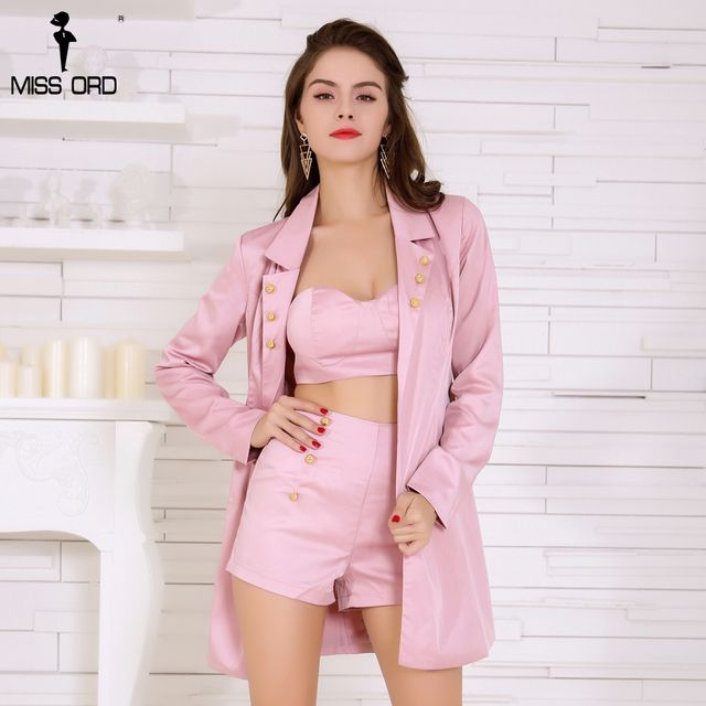 MISSORD 2017 sexy pink color long sleeve three-pcs women sets FT4780