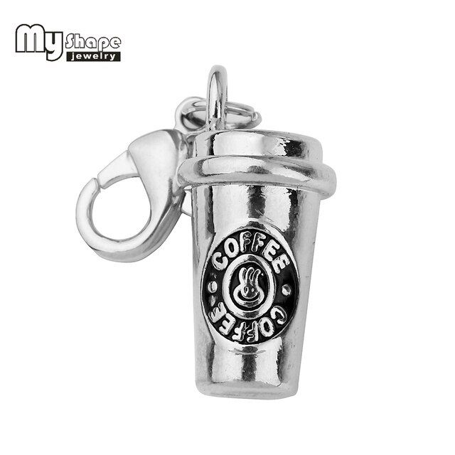 My Shape Coffee Cup Charms With Lobster Claw Clasp Accessory High Polished Rhodium Plated Pendant Charms for Coffee Lovers