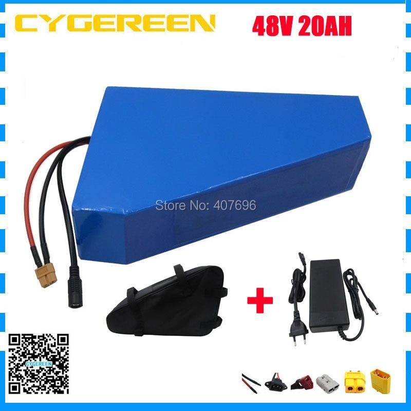 1000W 48V triangle battery 48V 20AH lithium Ebike battery pack use 3.7V 2600mah 18650 cell With free bag 30A BMS Free customs