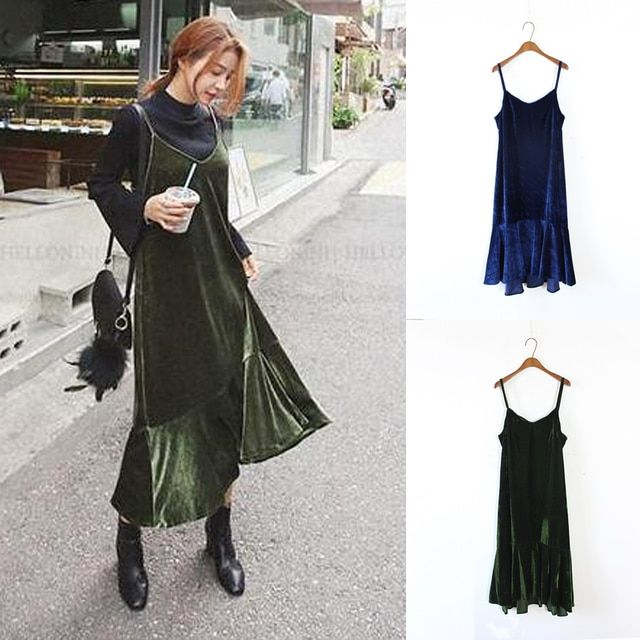 Korean Velvet Dress Fashion Elegant Ladies Green Blue Slip Dress Ruffle Women Long Dress Winter