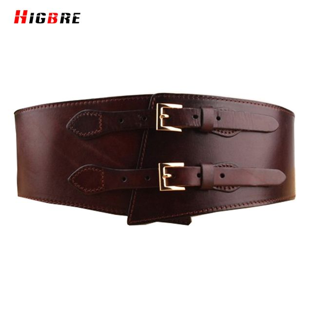 Fashion Double Belt Buckle Women Waist Belt Genuine Leather Pure Brown Wide Belt Female Girdle For Plus Size Cintos Femininos