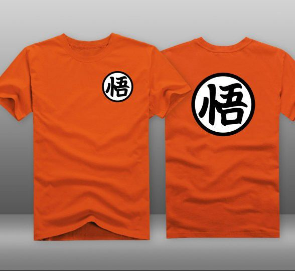 Anime Dragonball Z Cosplay Costume DBZ Goku Symbol Brand T-shirt Short Sleeves Tee New 100% Cotton Free Sipping Orange New