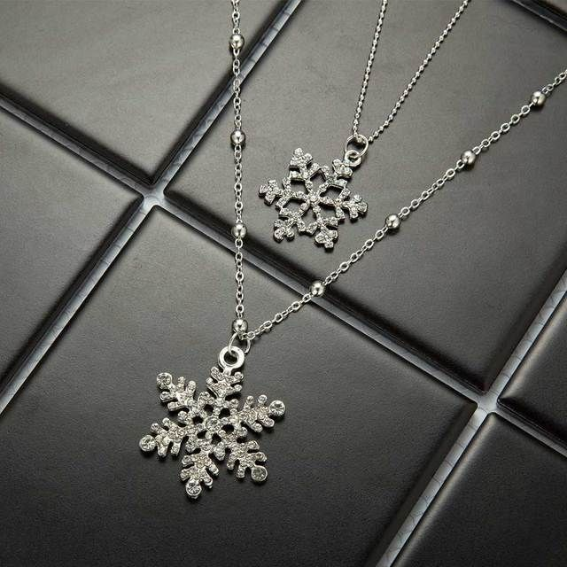 FAMSHIN 2016 new Gold Snowflake fashion snowflake double long necklace Double Layers fine sweater chain Necklace & Pendant gift