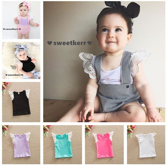 2016 Toddler Baby Girl Clothing New T-Shirts Quality Fashion Cotton Tops Lace Kids Baby Girls Cute Short Sleeve Tee Tops