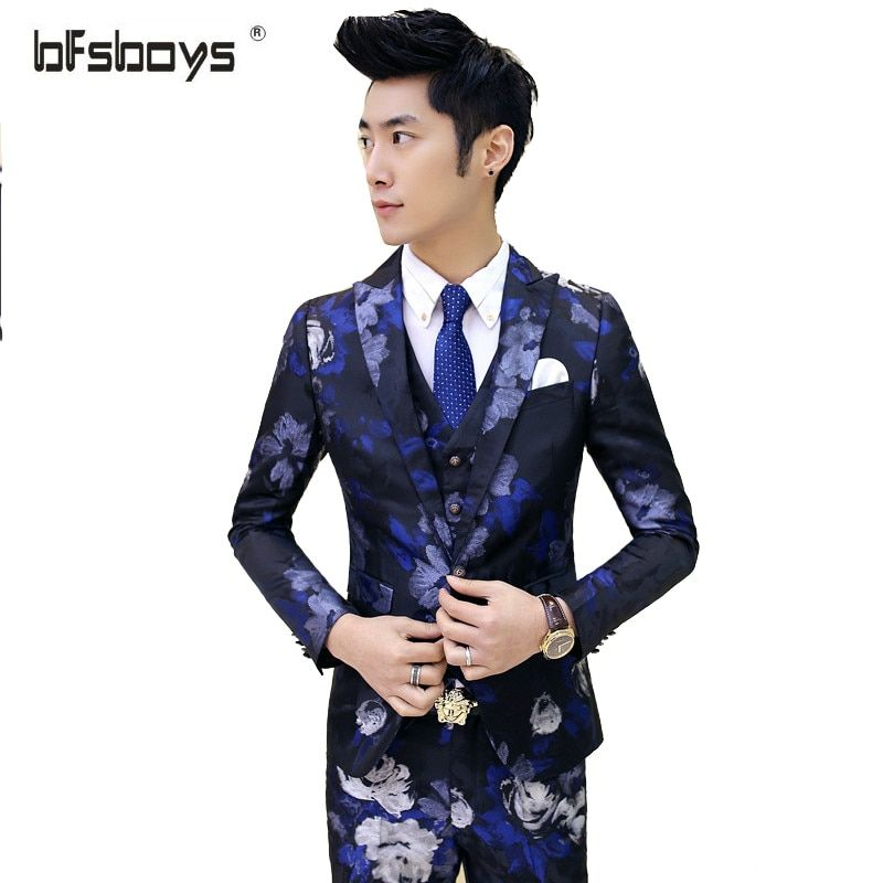 2016 New Arrival Autumn Mens Suits Wedding Groom Men Bueinss Suit Luxury Vintage Prom Party Printed Wedding Suits Red Navy 3pcs