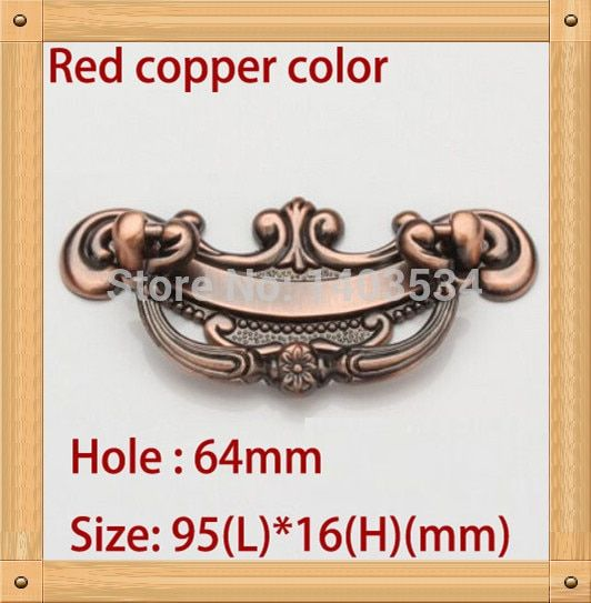 Hole C:C: 64mm/96mm Zinc Alloy Kitchen Furniture Handle antique bedroom drawer handle Red copper color