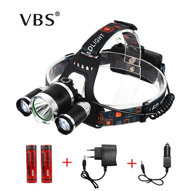 Portable 3 LED Headlamps T6 + 2*R2 Head lamp Light  4 Modes for Bicycle Riding High Power LED Headlamp by Charger, 18650 Battery