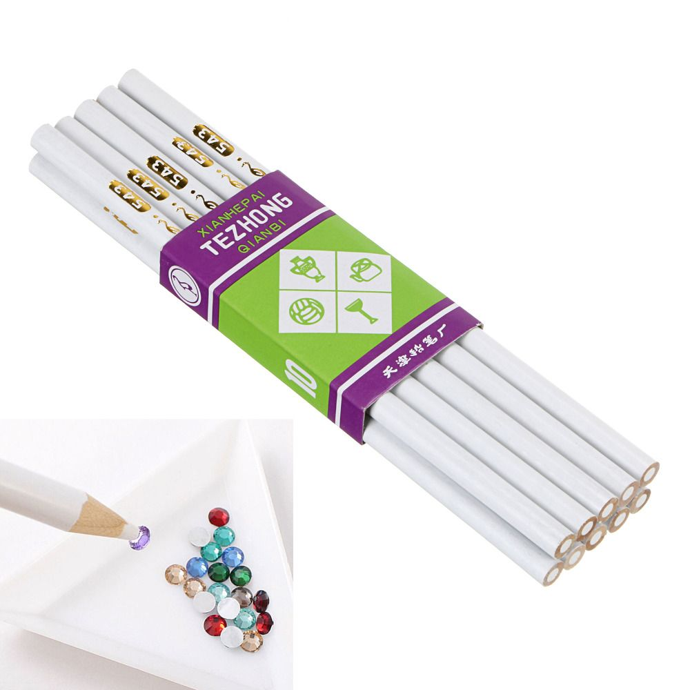 10PCS White Wooden Point Pen Wax Picker Pencil for Nail Art Rhinestones Bead