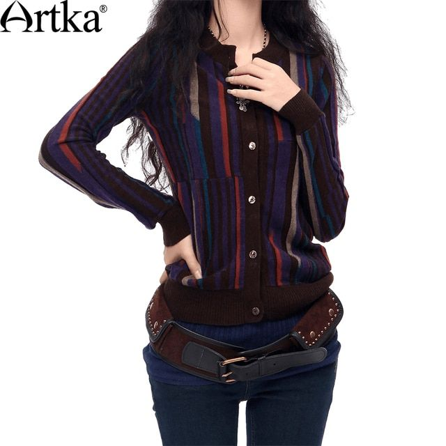 Artka Women's Autumn Vintage Casual Scoop Neck Full Sleeve Single Breasted Striped Mid-Long Wool Sweater Cardigan YB16034D