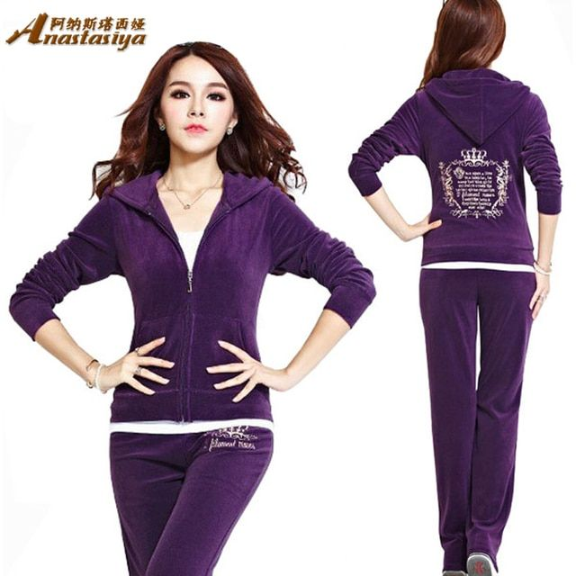 Women Winter Suits 2016 New Velvet Crown Embroidery Hoodies Women's Tracksuit Set Feminino Sportsuit Plus Size Two Piece set