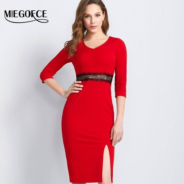 Women Office Dress Fitted Knee-length Casual Elegant Female Dress MIEGOFCE New Spring Autumn Collection Tunic Dress New Design