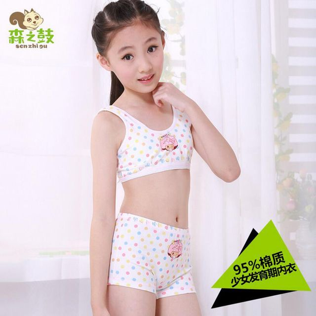 Girls' underwear sets Undies Puberty Teenagers Student Sport Set Pretty Girl Cotton Underwear Set Training Bras Vest and Boxers