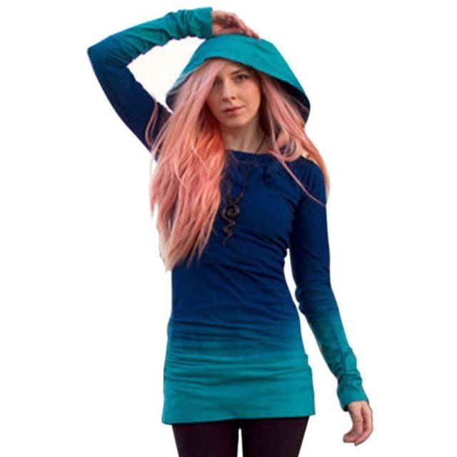 Women's Pullover Hoodie Sweatshirt Long Sleeve Hooded Jumper Tunic Tops