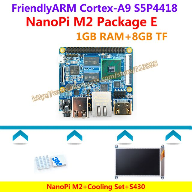 Cortex-A9 S5P4418 NanoPi M2 Demo Board(1G RAM,1.4GHz)+Heatsink+4.3' Capacitive touch LCD=NanoPi M2 Kit E(Android,Debian,u-boot)