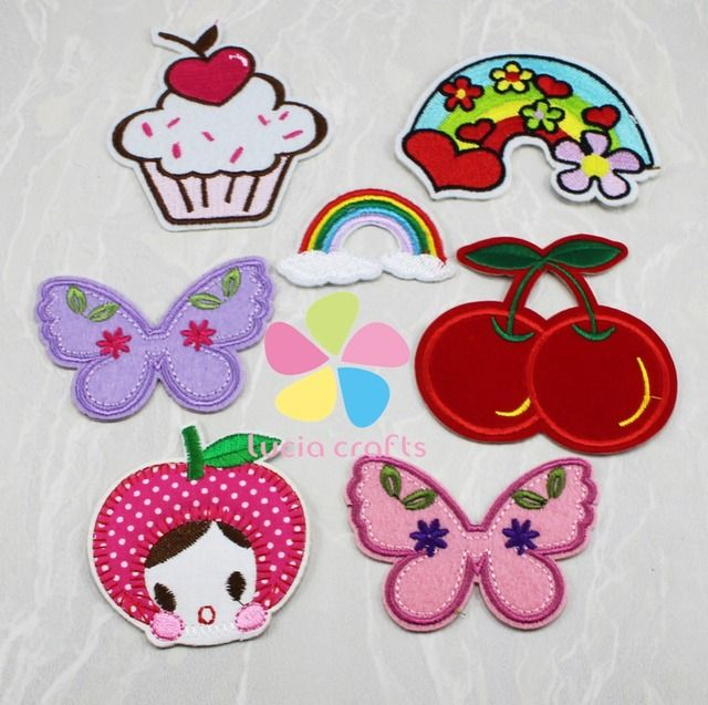 3.6-8.6cm Rainbow/Cherry/Butterfly Iron-on or Sew-on Patch Children's Clothing Accessories 7pcs/lot 082007080(3.6-8.6H7)