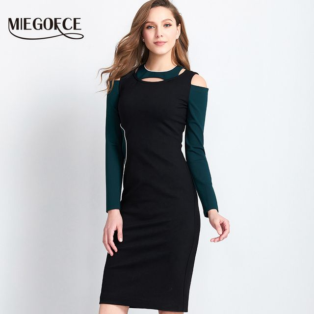 Women Elegant Office Dress Long Sleeve Casual Dress Bodycon Knee Pencil Dress Hot Selling MIEGOFCE New Spring Autumn Collection