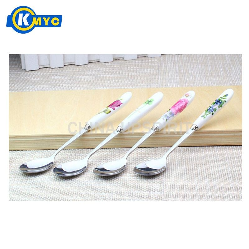 KMYCExquisite 5 pcs/set Chinese flower pattern stainless steel tableware coffee tea spoon ceramic handle flatware dessert ladles