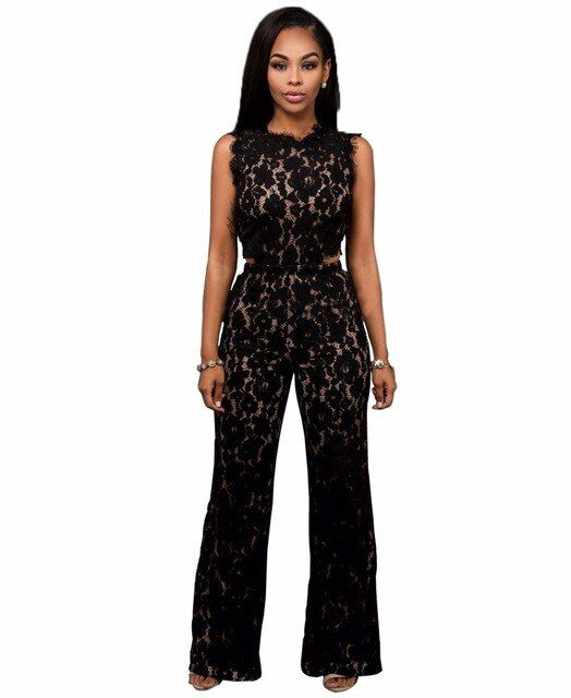 2 Piece Jumpsuit Women Black Lace Patchwork Short Crop Tops Wide Leg Long Pants Rompers Summer Back Zipper Hollow Out Playsuit