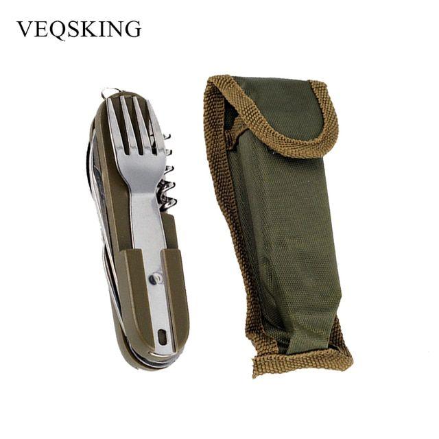Army Green Folding Portable Stainless Steel Camping Picnic Cutlery Knife Fork Spoon Bottle Opener Flatware Tableware Travel Kit