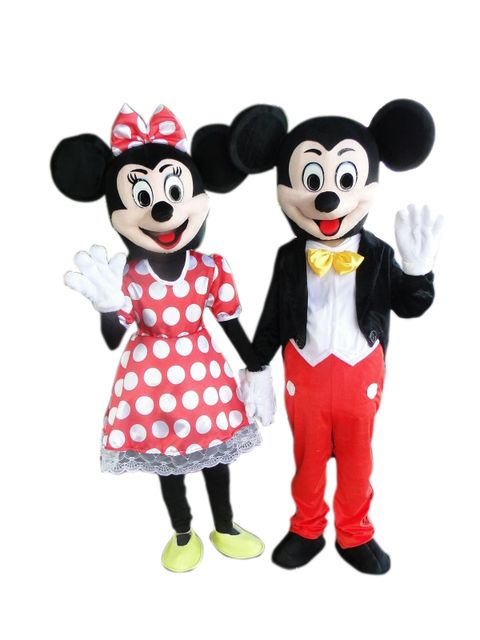 2 PC hot pink Minnie mouse mascot costume adult cartoon because Halloween carnival costume size