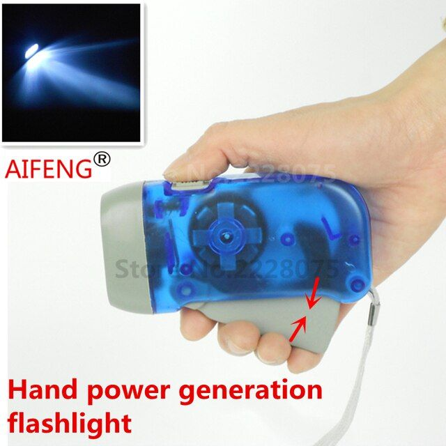 AIFENG Portable emergency camping with spontaneous electric torch energy storage batteries, hand pressure power led dynamo flash