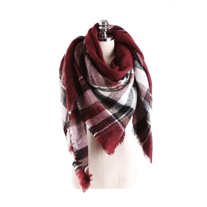 women cashmere warm Softer Plaid scarf selling Plaid scarves temperament wild grid scarf shawl female Plaid lady scarf