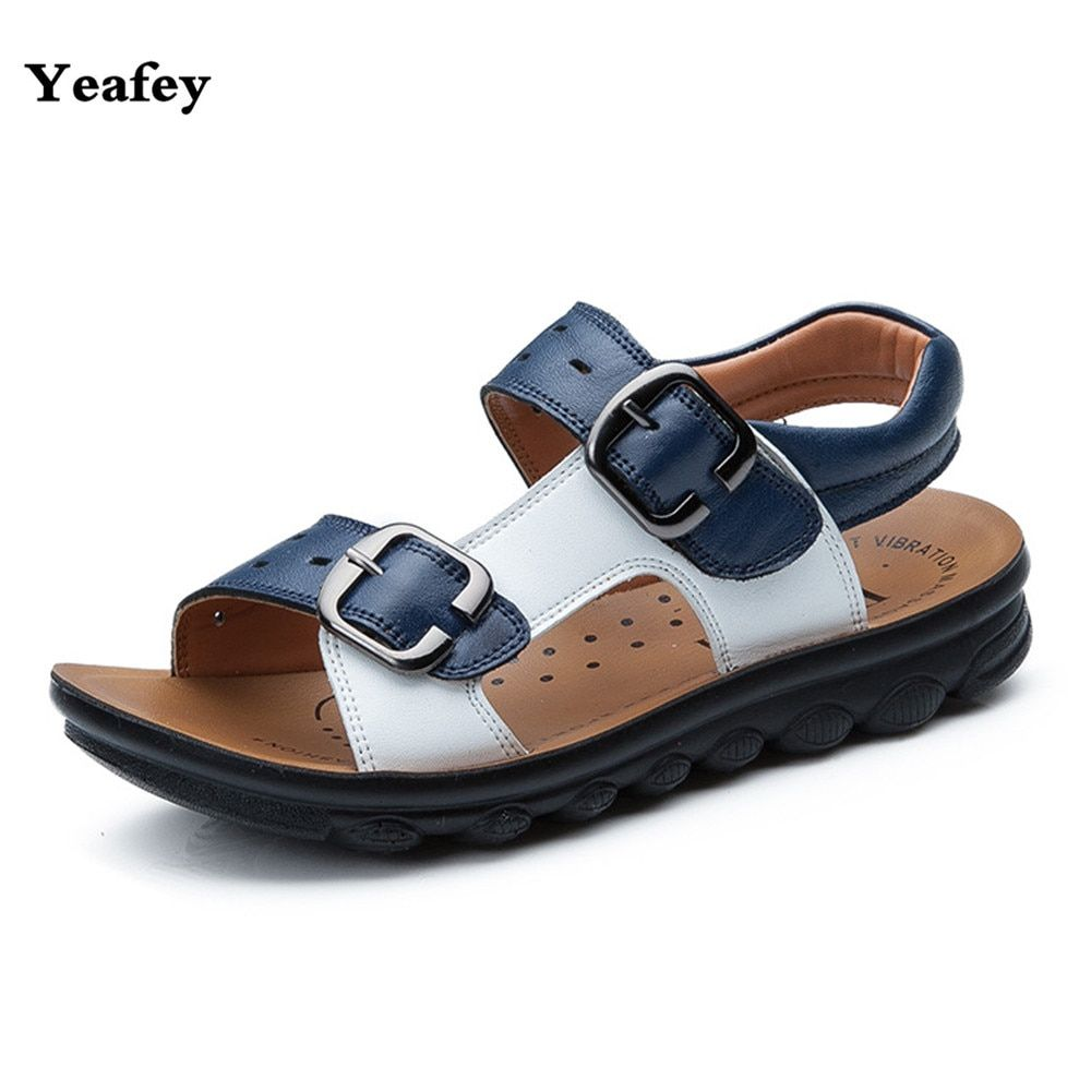 Yeafey Boys Sandals Kids Shoes 2017 Genuine Leather Sandals Baby Boy Summer Children Shoes Eur Size 26-37 Beach Shoes Children