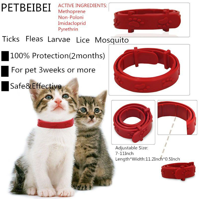 50pcs/lot PETBEIBEI cat flea collars to anti-lice ticks flea circle worming dogs and cats lap cat collar dog collar