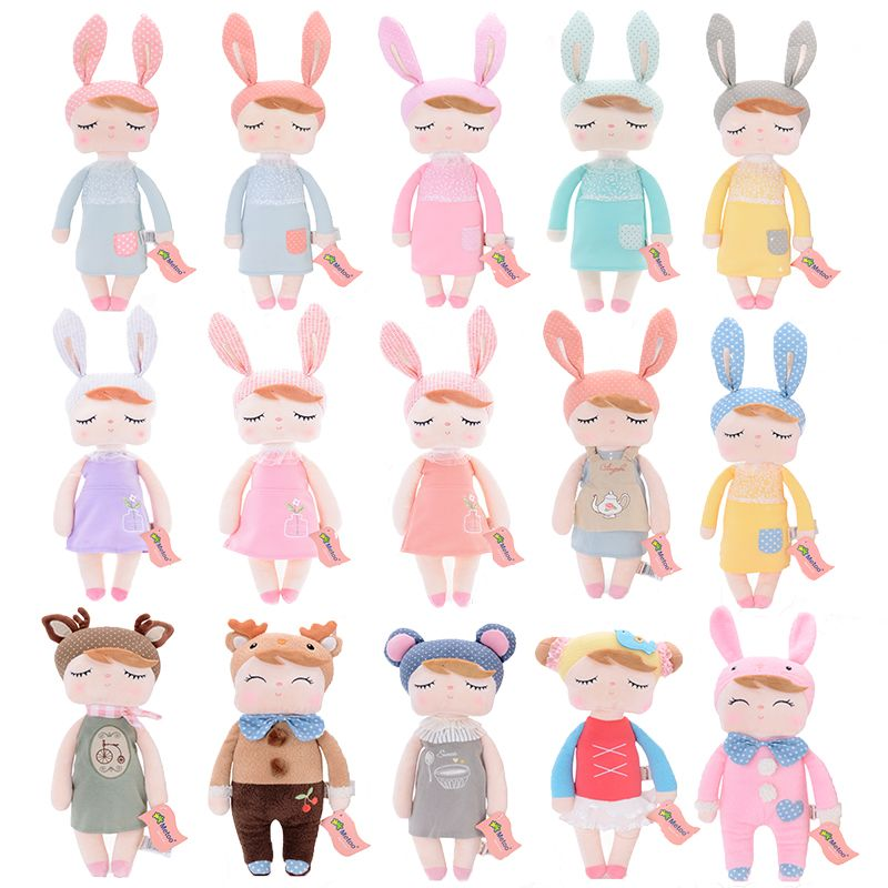 Metoo Plush Toys Angela Dolls with Box Dreaming Girl Wear Pattern Skirt Plush Rabbit Stuffed Gift Toys for Kids