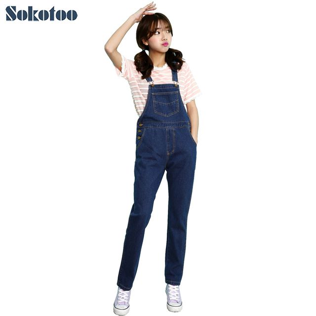 Sokotoo Women's chic cute loose denim overalls Girl's all match long jumpsuits Casual jeans