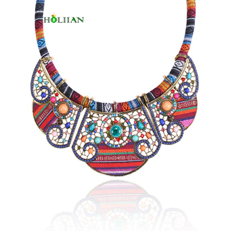 2017 New women bohemia necklace&pendants multicolor statement choker necklace za antique tribal ethnic boho jewelry mujer bijoux