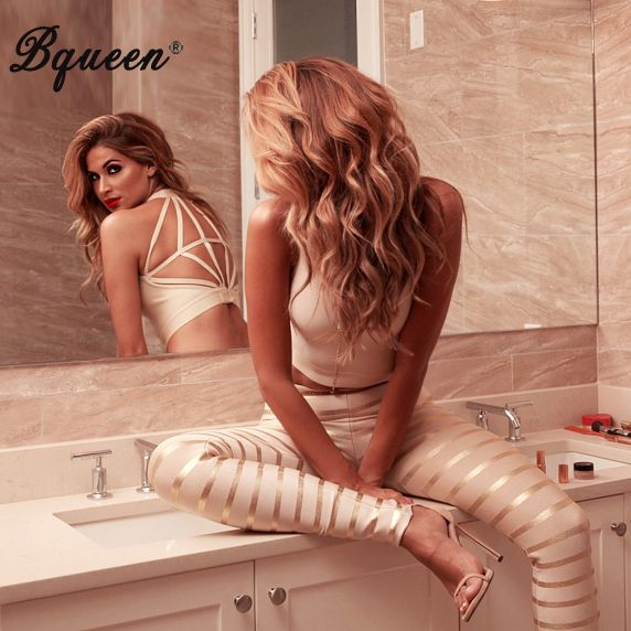 Bqueen 2016 New Gold Backless Striped Bandage Jumpsuits Women Pants Set Skinny Pants