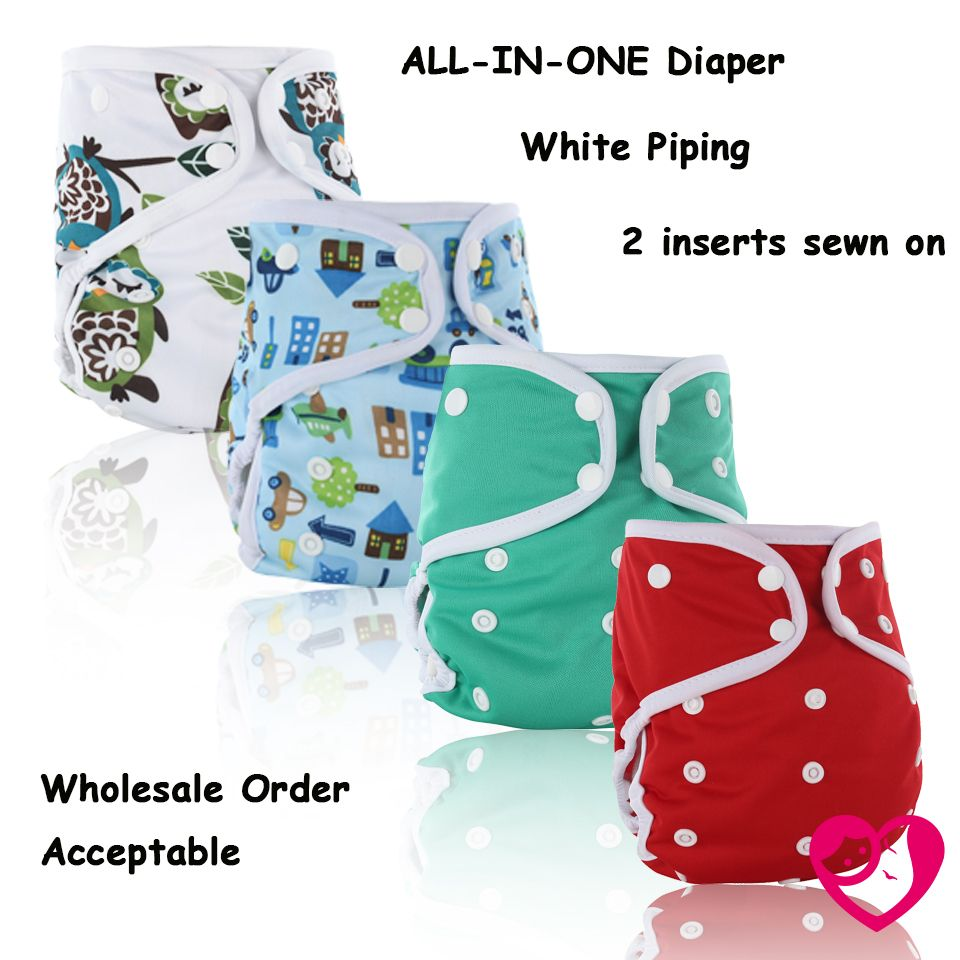 Free Shipping  1pc  white edge binding waterproof  AIO all in one cloth diaper with bamboo inserts , 2 inserts sewn on diaper