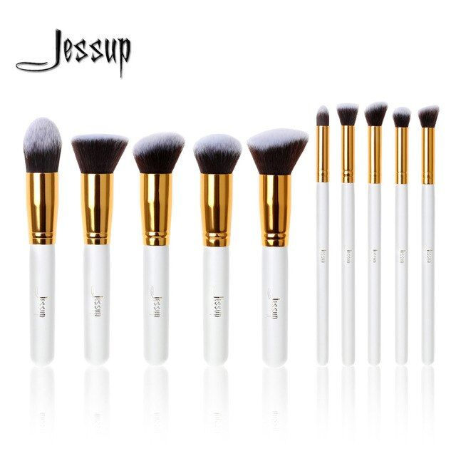 Jessup Brush Professional 10pcs Kabuki White/Gold Makeup Brushes Set Beauty Foundation Cosmetics Make up tools Synthetic Hair