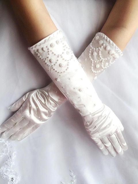 Gorgeous Beading Elbow Finger Wedding Gloves White/Ivory Satin Long Bridal Gloves For Bride Wedding Accessories