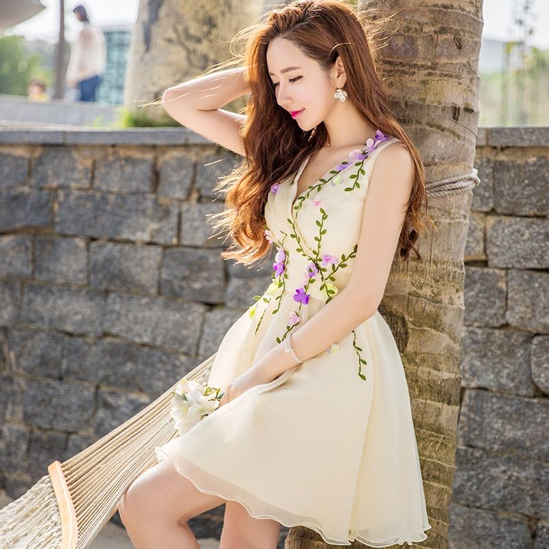 2016 Brand Vestidos Summer Plus Size Colorful Flowers V-Neck Ladies Elegant Cute Princess Dresses Tutu Women Wholesale
