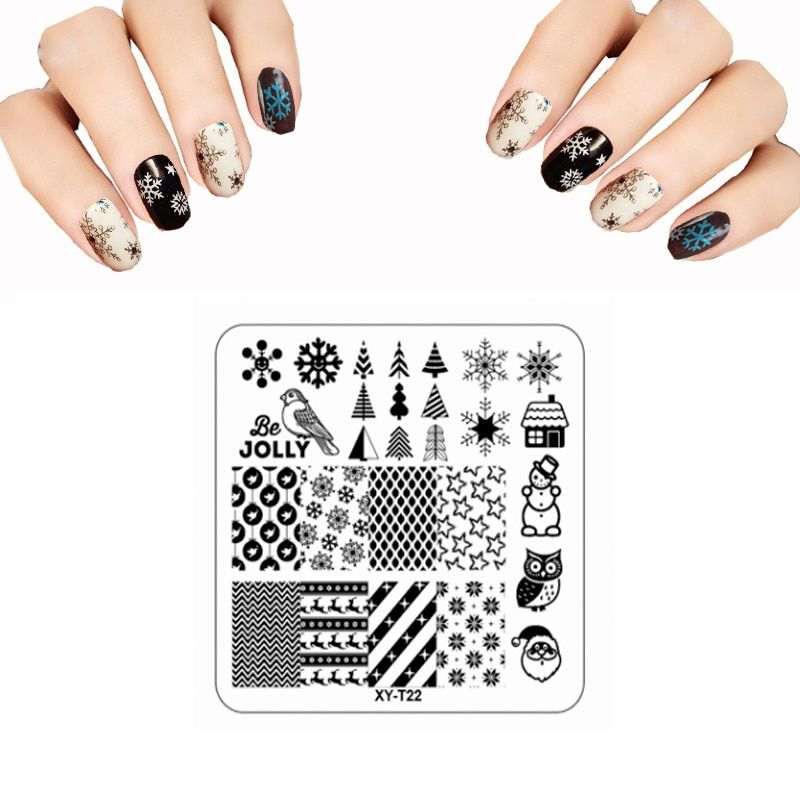 6.5*6.5CM XYT 3D Nail Stamping Plates Set Christmas Girl Butterfly Feather Image Plate DIY Plastic Acrylic Nail Art Templates