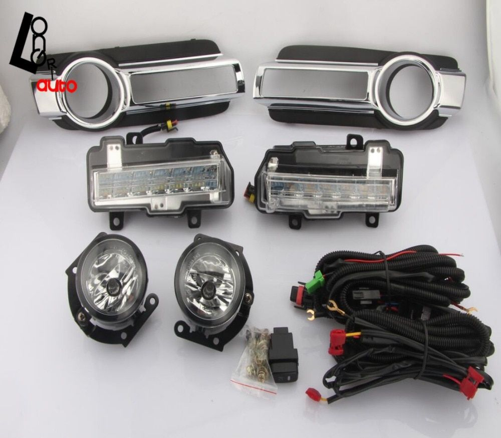 car styling LED Daytime Running Light With Turn Signal Function Fog Light Assembly For Mitsubishi Pajero Montero 2015 led DRL