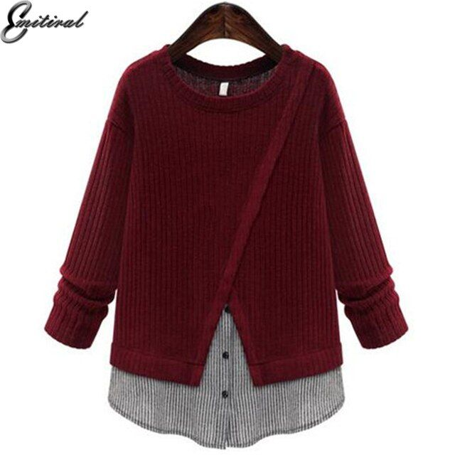 EMITIRAL 2017 Spring Plus Size Women Shirts Top Patchwork Knitted Shirt 5XL Elegant Female Blouse Slim Casual Pullovers Clothing
