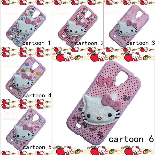 cute 3D cartoon Hello Kitty KT cat Case For Samsung S4 Soft Silicon Phone Case Back Cover For Samsung Galaxy S4 i9500 phone case