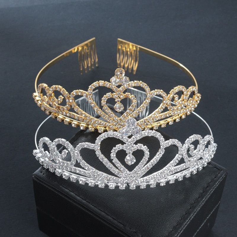 Golden Wedding Bridal Tiara Crown King Diadem Heart Queen Hair Comb Bride Rhinestone Jewelry Hair Ornaments Headdresses Women