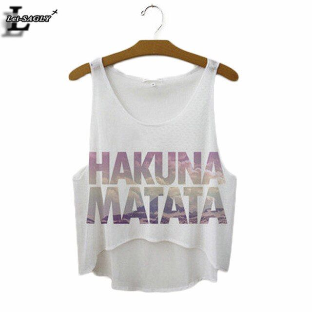 "Summer Style ""HAKUNA MATATA"" Print Tank Top Women Fashion Loose White T shirts Harajuku Novelty Casual Workout Crop Tops F1037"