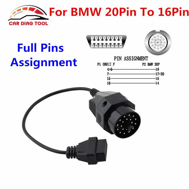 Best Quality OBD2 Connector Diagnostic Cable For BMW 20PIN to 16Pin With Full Pins Assignment For BMW E36 E39 X5 Z3