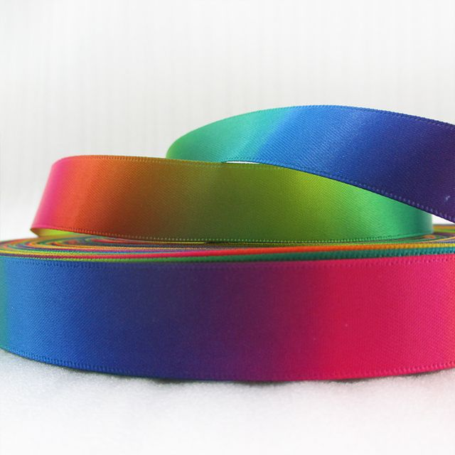 (5yds per roll) 10Y46714 width:19mm Rainbow satin ribbon 10 yards, DIY handmade materials, wedding gift wrap