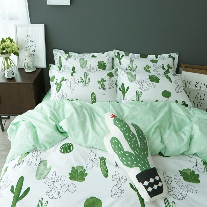 Simple style cactus banana Clouds bedding set cotton 4pcs bedding bed linen king queen twin size Quilt/duvet cover set bedsheets