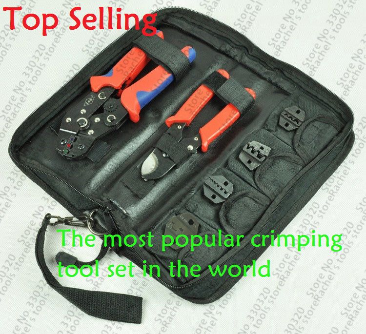 Crimping Tool Set/kit DN-K02C with cable cutter,crimping plier& replaceable crimping die sets/jaws,terminal hand tools,crimpers