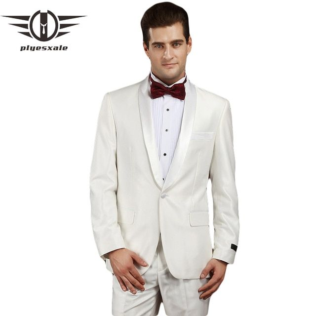 Plyesxale Men Suit 2018 Latest Coat Pant Designs Slim Fit Mens White Wedding Suit Luxury Designer Prom Suits Stage Wear Q326