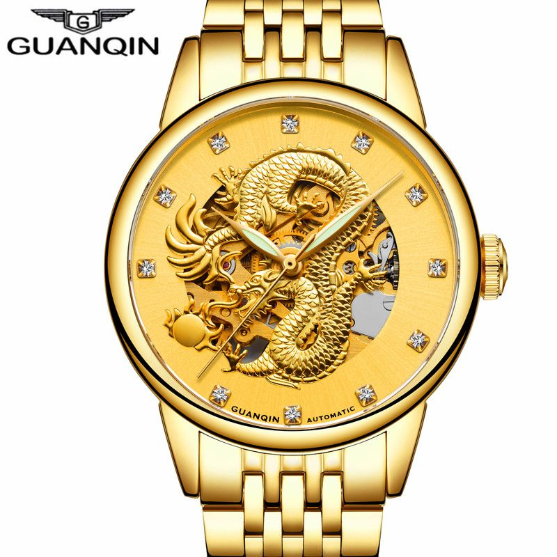 Top Brand GUANQIN Watch Men Luxury Mechanical Watches Gold Dragon Diamond Stainless Steel Mens Watches Automatic Wristwatch new
