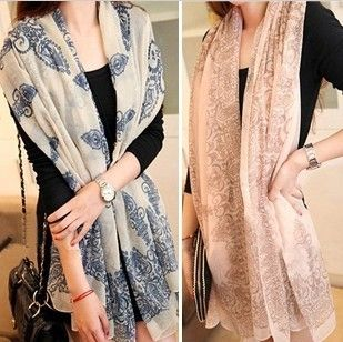 2019 spring autumn winter latest fashion models women scarf necessary classic chiffon blue floral design scarves