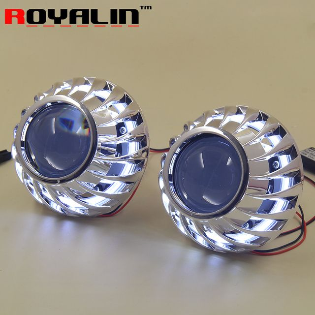 ROYALIN Car 2.5 Bi Xenon HID Projector Headlights Retrofit H1 Mini Lens LED COB Angel Eyes White DRL for H4 H7 Auto Replace Part